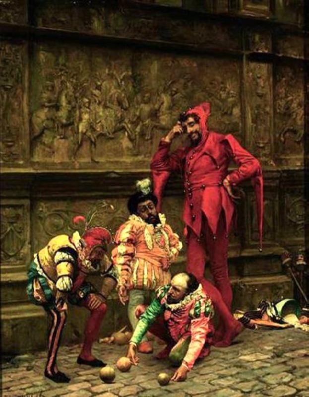 Eduardo Zamacois y Zabala. Court jesters playing bowls, 1868