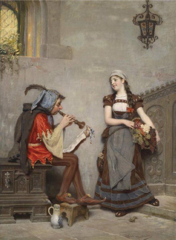 Felix Ehrlich. Musizierender Hofnarr. Signiert, datiert Felix Ehrlich, 1895