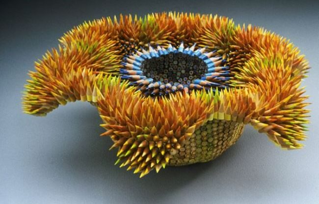 Graceful sculpture of pencils by Jen Maestre