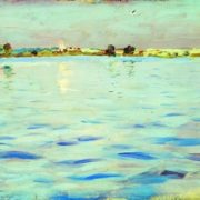 Isaak Ilich Levitan. Lake at sunset