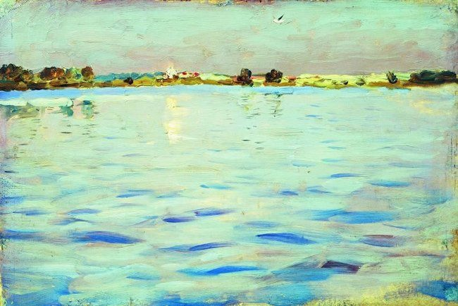 Isaak Ilich Levitan. Lake at sunset