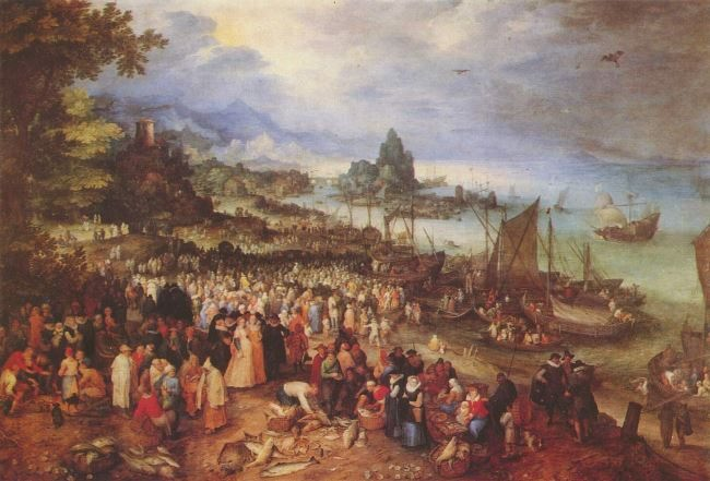 Jan Brueghel the Elder. Christ preaches on the shores of the Lake