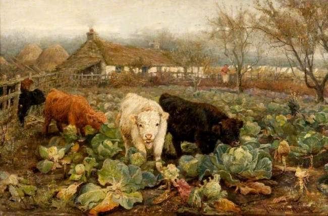 Joseph Denovan Adam. Calves in the Cabbage Patch. Glasgow Museums