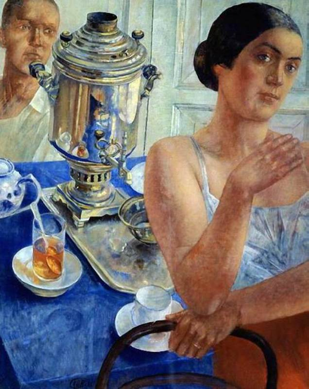 Kuzma Petrov-Vodkin. At the samovar. 1926