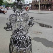 Lady with a samovar on her head in Tyumen, Russia