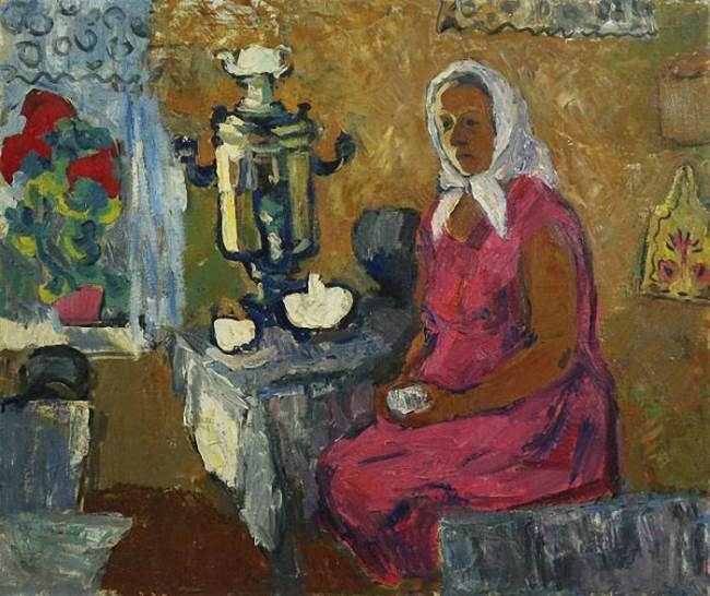 Larisa Beshkinskaya. At the samovar. 1971