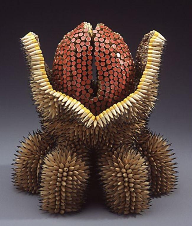 Majestic sculpture of pencils by Jen Maestre