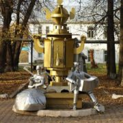 Monument to samovar in Perm Region, Russia