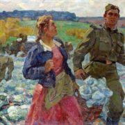 Nikolay Tikhonov. Collecting cabbage in collective farm. 1970