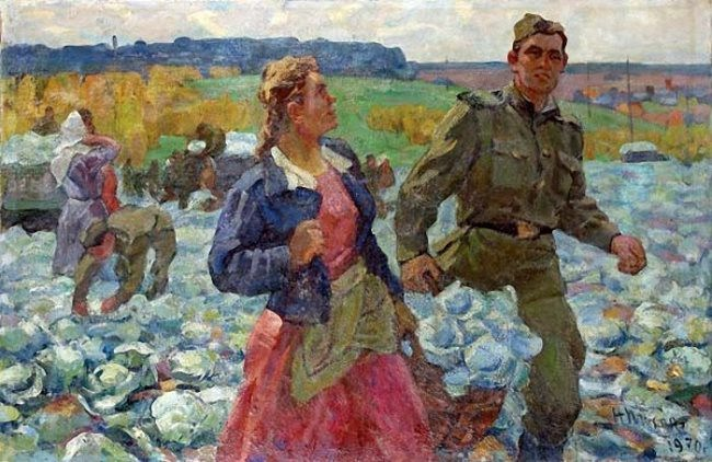 Nikolay Tikhonov. Collecting cabbage in collective farm. 1970
