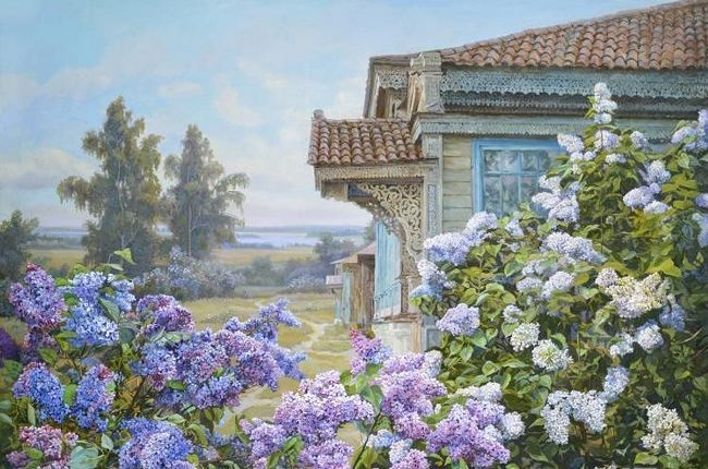 Panov Edward Porfirievich. Lilac in the village