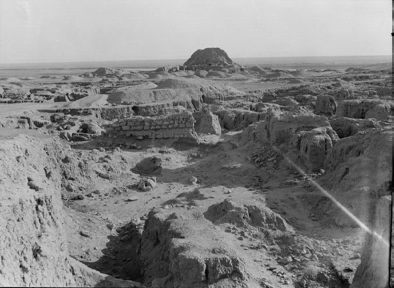 Ruins of the Assyrian city of Ashur with its ziggurat in the background