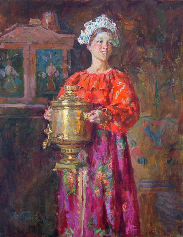 Stanislav Babyuk. Girl with a samovar
