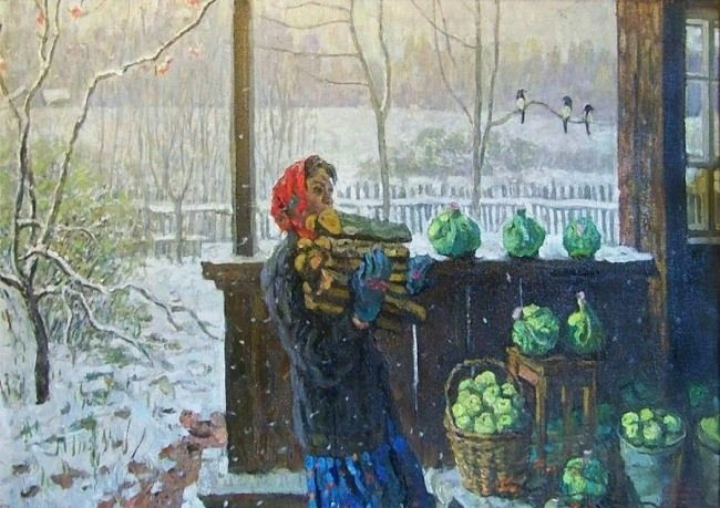 Tkachev Sergey Petrovich. The First Snow, 1976