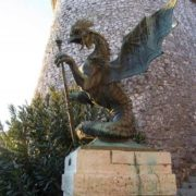 Trsat Castle (Croatia). Beautiful bronze monument to Basilisk
