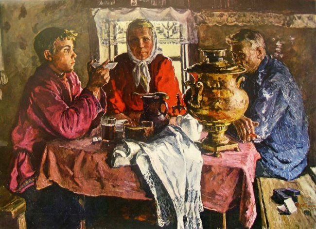 V. Stozharov. At the Samovar