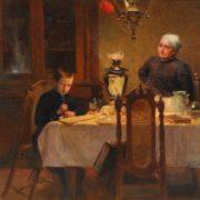 V.E. Makovsky. Boy and woman drinking tea