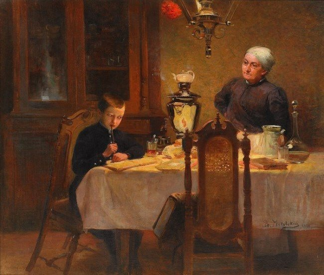 V.E. Makovsky. Boy and woman drinking tea