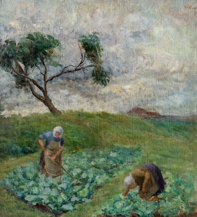 Vikentiy Trofimov. Weeding the cabbage. 1930s