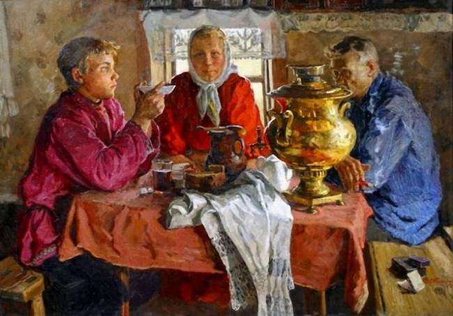 Vladimir Stozharov. At the samovar. 1956