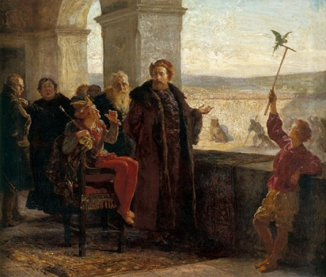 Wojciech Gerson. Sigismund the Old with Stanczyk at the Wawel Castle.