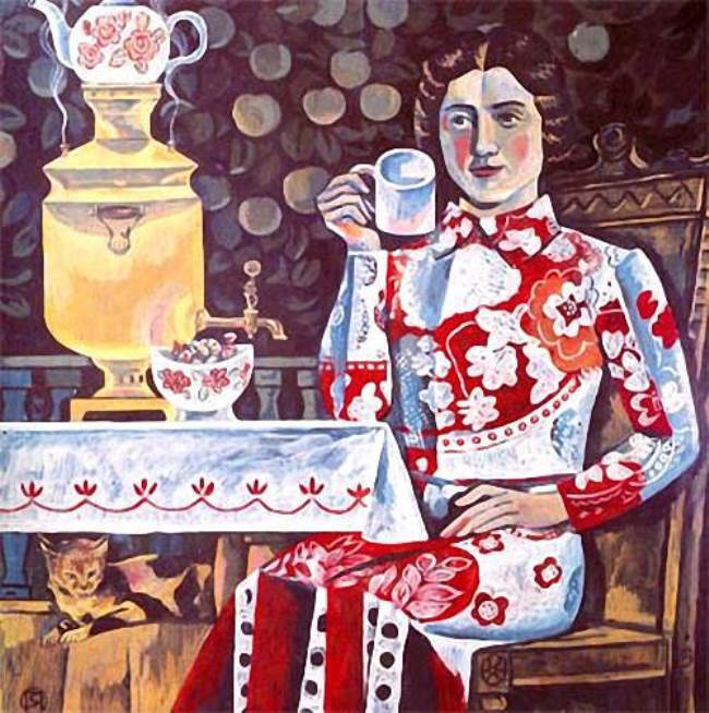 Yakov Potapov. At the samovar. 1980