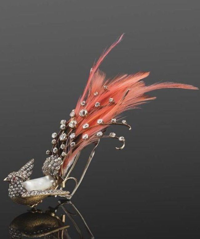 19th century diamond, ruby and pearl bird aigrette hair ornament with feathers
