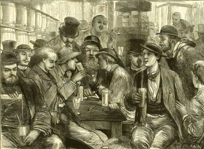 Author Unknown. Absinthe Drinkers. Illustration of the journal The Graphic. 1872