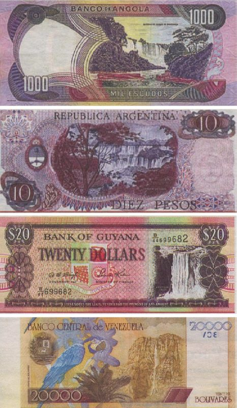 Awesome waterfalls on bank notes