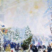 B. Kustodiev. Christmas bargain, 1918