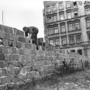 East Berlin cop is laying bricks. September 9, 1961