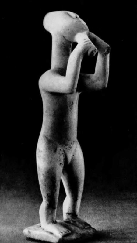 Flute player. Figurine from the island of Keros, Cyclades. Marble