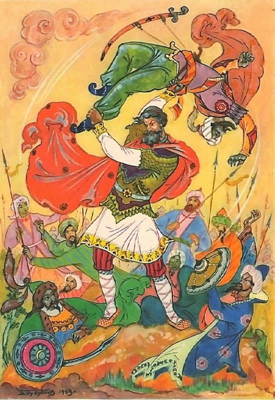 Ilya Muromets and Kalin Tsar. The artist K. Kukuliev (Palekh)