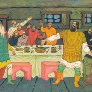 Ilya Muromets in quarrel with Prince Vladimir. Artist V. Fokeev