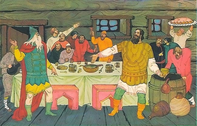 Ilya Muromets in quarrel with Prince Vladimir. Artist V. Fokeev
