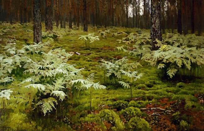 Isaac Levitan. Ferns in the forest