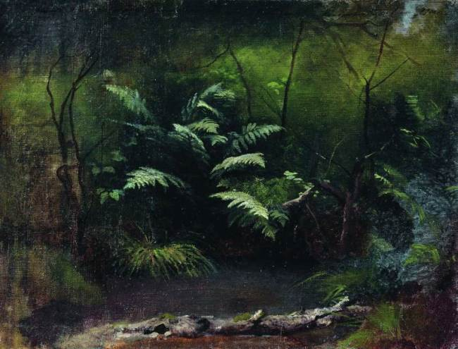 Isaac Levitan. Ferns near the water