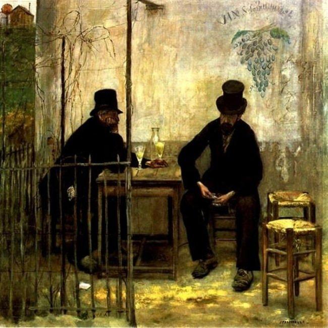 Jean Francois Raffaelli. Drinking Absinthe, 1881