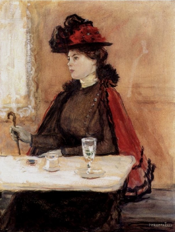 Jean-Francois Raffaelli. Young Woman in a Cafe