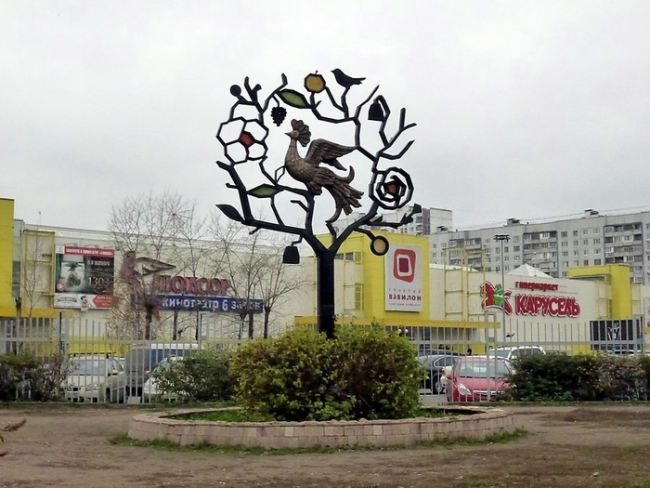 Monument to Firebird on a paradise tree in Moscow, Russia
