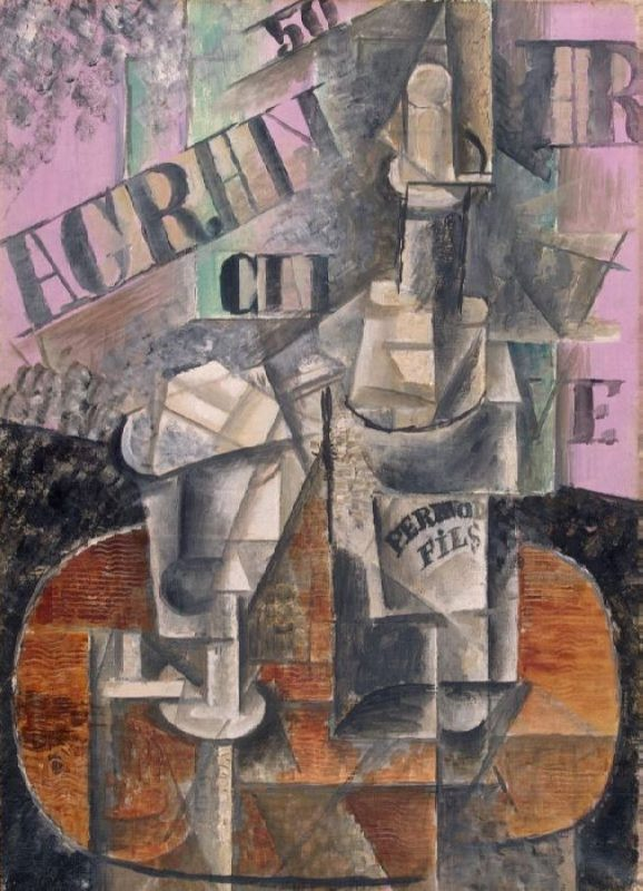Pablo Picasso. Bottle of Pernod and Glass, 1912