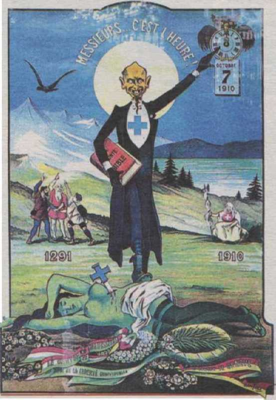 Poster The death of the Green Fairy, expressing dissatisfaction with the ban of absinthe in Switzerland