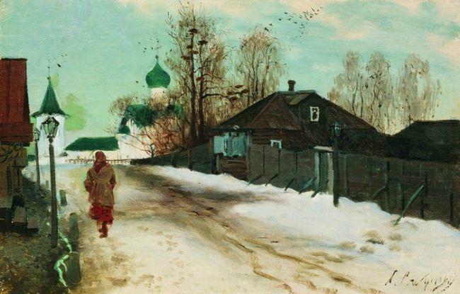 Ryabushkin Andrei Petrovich. Mikhaylovskaya street in Novgorod, 1899
