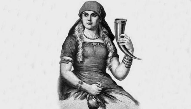 Scandinavian goddess Sif with a horn for drinking, 1893