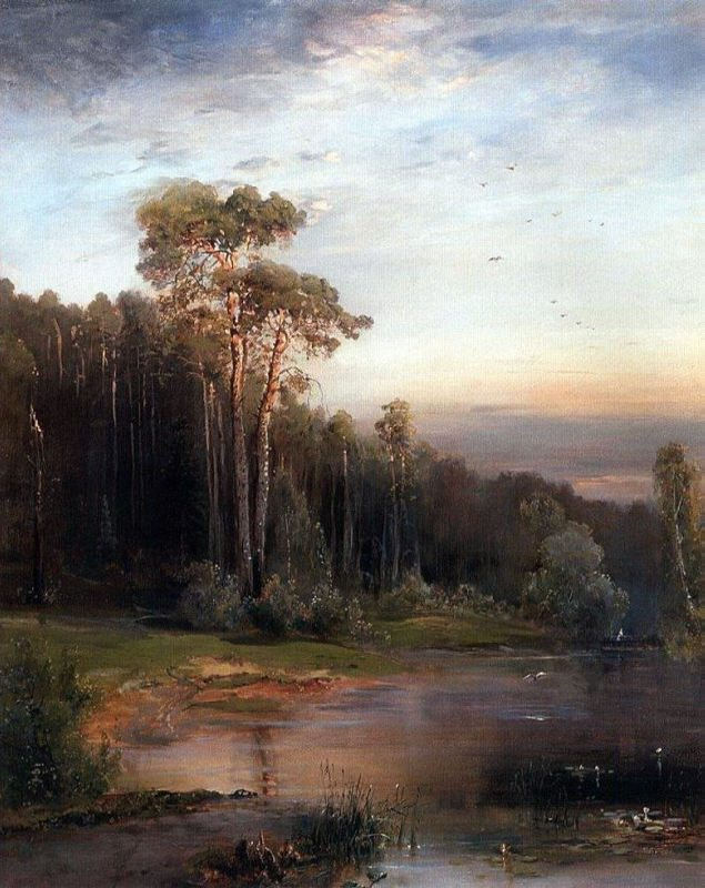 Summer landscape with pine trees near the river. Alexey Kondratievich Savrasov. 1878