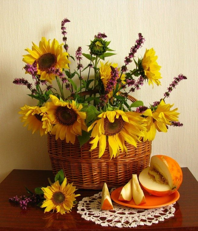 Sunflowers and melon