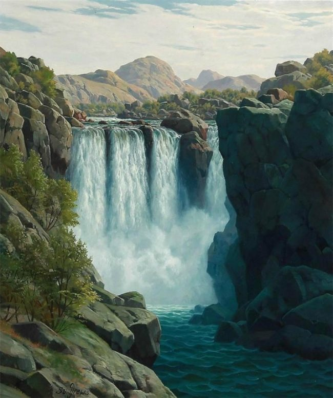 Svend Age Drews. Norwegian landscape with a waterfall