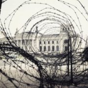 The building of the Reichstag through the wire fence, September 5, 1961