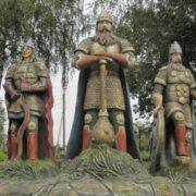 Three bogatyrs in Kozelsk, Kaluga region, Russia