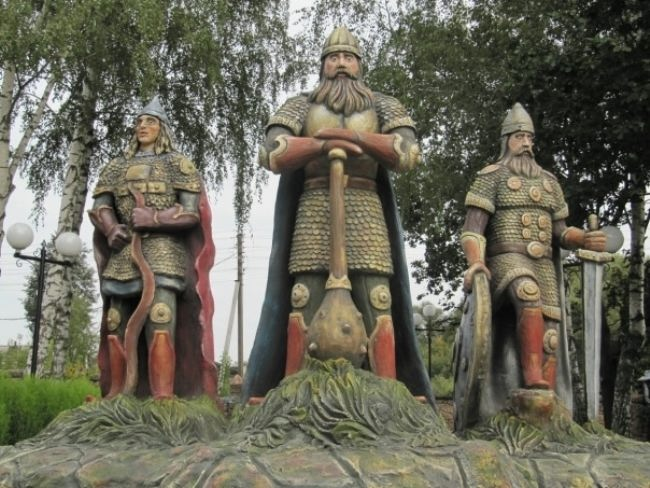 Three bogatyrs in Kozelsk, Kaluga region, Russia
